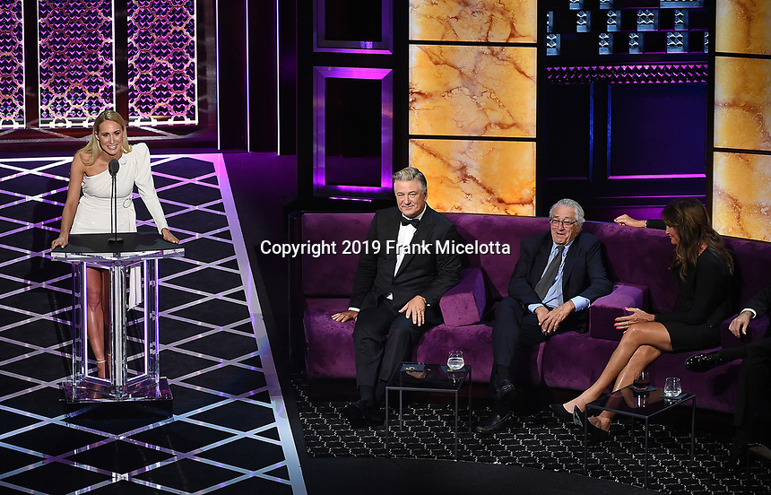 "BEVERLY HILLS - SEPTEMBER 7: Nikki Glaser, Alec Baldwin, Robert DeNiro, and Caitlyn Jenner appear onstage at the ""Comedy Central Roast of Alec Baldwin"" at the Saban Theatre on September 7, 2019 in Beverly Hills, California. (Photo by Frank Micelotta/PictureGroup)"