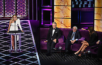"""BEVERLY HILLS - SEPTEMBER 7: Nikki Glaser, Alec Baldwin, Robert DeNiro, and Caitlyn Jenner appear onstage at the """"Comedy Central Roast of Alec Baldwin"""" at the Saban Theatre on September 7, 2019 in Beverly Hills, California. (Photo by Frank Micelotta/PictureGroup)"""