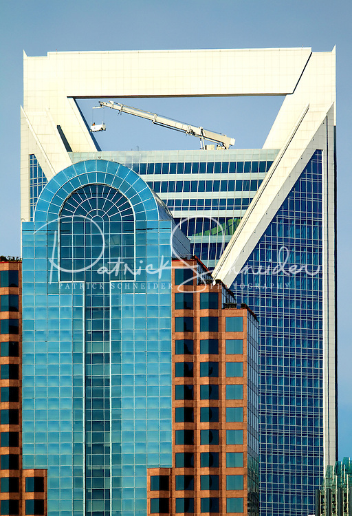 Photo of One Wachovia Center, the headquarters of Wells Fargo bank, and the new Duke Energy tower in downtown / uptown / center city Charlotte North Carolina.  Photo by Charlotte, North Carolina photographer Patrick Schneider.