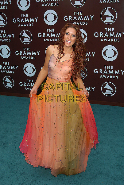 SARAH KELLY.47th Annual Grammy Awards - Arrivals. Los Angeles, California .February 13th, 2005.Photo Credit: Jacqui Wong/AdMedia.full length sheer chiffon orange red and green dress holding in hands bowing curtsy gesture.www.capitalpictures.com.sales@capitalpictures.com.© Capital Pictures.