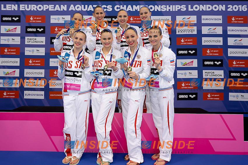 Team RUS gold medal<br /> KOLESNICHENKO Svetlana PATSKEVICH Aleksandra SHISHKINA Alla  SHUROCHKINA Maria<br /> CHIGIREVA Vlada  TOPILINA Gelena<br /> PROKOFYEVA Elena  GOLIADKINA Marina<br /> London, Queen Elizabeth II Olympic Park Pool <br /> LEN 2016 European Aquatics Elite Championships <br /> Team Technical final<br /> Day 01 09-05-2016<br /> Photo Giorgio Scala/Deepbluemedia/Insidefoto