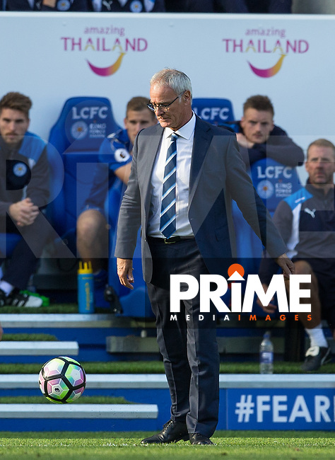 Leicester City Manager Claudio Ranieri looks at the ball with anger during the Premier League match between Leicester City and Southampton at the King Power Stadium, Leicester, England on 2 October 2016. Photo by Andy Rowland.