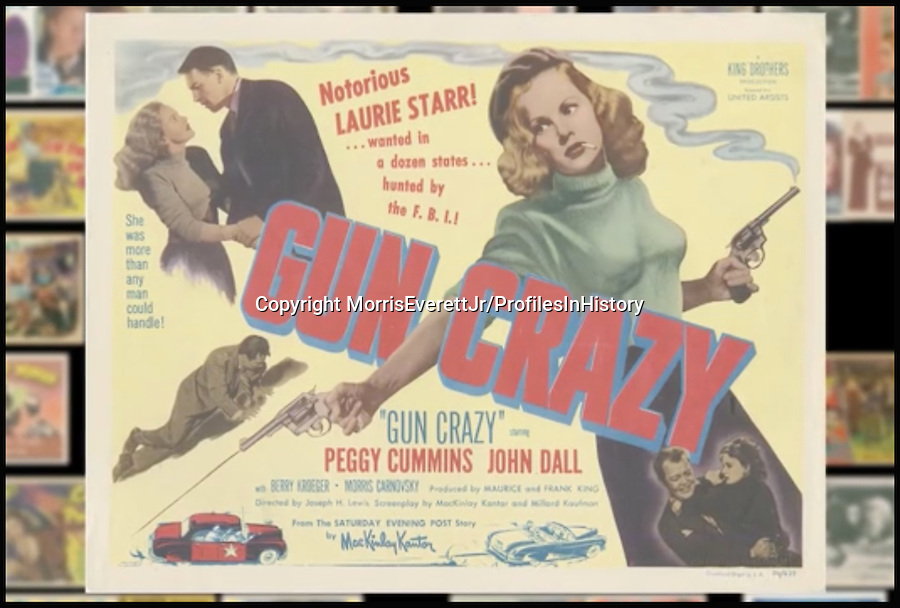 BNPS.co.uk (01202 558833)<br /> PIc: MorrisEverettJr/ProfilesInHistory/BNPS<br /> <br /> ***Please Use Full Byline***<br /> <br /> Gun Crazy (1950). <br /> <br /> The world's largest collection of movie posters boasting artwork from almost every single film made in the last century has emerged for sale for &pound;5 million.<br /> <br /> The colossal archive features 196,000 posters from more than 44,000 films, and has been singlehandedly pieced together by one avid collector over the last 50 years.<br /> <br /> Morris Everett Jr has dedicated his life's work to seeking out original posters from every English-speaking film ever made and compiling them into a comprehensive library.<br /> <br /> The sale is tipped to make $8 million - around &pound;5 million pounds - when it goes under the hammer in one lot at Califonia saleroom Profiles in History on December 17.