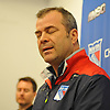 A disappointed Alain Vigneault, New York Rangers head coach, reflects on the team's elimination from the playoff contention as he speaks to the media at Madsion Square Garden Training Center in Greenburgh, NY on Thursday, May 11, 2017. The Rangers' season ended on Tuesday, May 9 when the team lost to the Ottawa Senators four games to two in the second round of the Stanley Cup Playoffs.