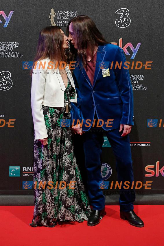 Manuel Agnelli con la moglie Francesca<br /> Roma 27-03-2017. Premio David di Donatello 2017.<br /> Rome March 27th 2017. David di Donatello ceremony 2017. <br /> Foto Samantha Zucchi Insidefoto