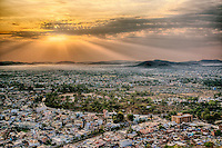 Elevated view of Udaipur, India at sunrise.