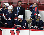 Michael Pastujov (NTDP - 21), Greg Moore, Sean Dhooghe (NTDP - 24), Jason Hodges, Graham Slaggert (NTDP - 19) - The Harvard University Crimson defeated the US National Team Development Program's Under-18 team 5-2 on Saturday, October 8, 2016, at the Bright-Landry Hockey Center in Boston, Massachusetts.