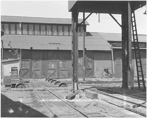 D&amp;RGW Alamosa repair shop viewed from near the unwheeling hoist.<br /> D&amp;RGW  Alamosa, CO  Taken by Morse, Ron