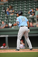 Right fielder Tyle Ratliff (14) of the Hickory Crawdads at bat during a game against the Greenville Drive on Monday, August 20, 2018, at Fluor Field at the West End in Greenville, South Carolina. Hickory won, 11-2. (Tom Priddy/Four Seam Images)