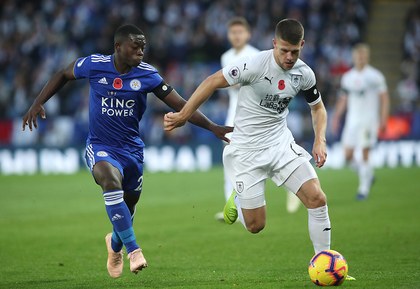 Leicester City's Nampalys Mendy and Burnley's Johann Gu_mundsson<br /> <br /> Photographer Rachel Holborn/CameraSport<br /> <br /> The Premier League - Saturday 10th November 2018 - Leicester City v Burnley - King Power Stadium - Leicester<br /> <br /> World Copyright © 2018 CameraSport. All rights reserved. 43 Linden Ave. Countesthorpe. Leicester. England. LE8 5PG - Tel: +44 (0) 116 277 4147 - admin@camerasport.com - www.camerasport.com