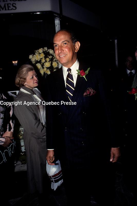 FILE PHOTO  - Oscar De La Renta attend his  perfume's launch in Montreal, March 1989<br /> <br /> Photo : Pierre Roussel - Agence Quebec Presse