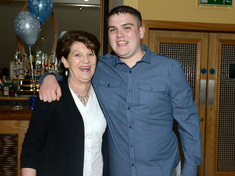 Adam McDonnell celebrating his 21st birthday in the Thatch with grandmother Esther McDonnell. Photo:Colin Bell/pressphotos.ie