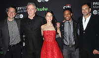 NEW YORK, NY- OCTOBER 08: Rob Doherty, Aidan Quinn, Lucy Liu, Jon Michael Hill, Jonny Lee Miller at PaleyFest New York 2016 presents Elementary at the Paley Center for Media in New York.October 08, 2016. Credit: RW/MediaPunch