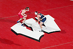 MADISON, WI - JANUARY 19: Mike Felling of the Wisconsin Badgers wrestling team against the Penn State Nittany Lions at the Field House on January 19, 2007 in Madison, Wisconsin. The Badgers beat the Nittany Lions 17-16. (Photo by David Stluka)