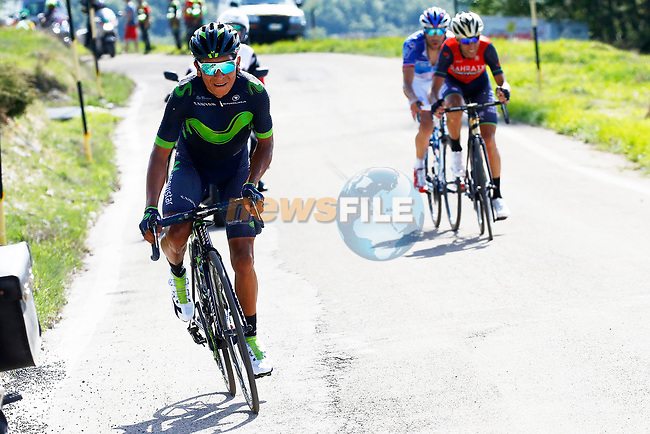 Nairo Quintana (COL) Movistar Team attacks Vincenzo Nibali (ITA) Bahrain-Merida and Thibaut Pinot (FRA) FDJ near the end of Stage 9 of the 100th edition of the Giro d'Italia 2017, running 149km from Montenero di Bisaccia to Blockhaus, Italy. 14th May 2017.<br /> Picture: POOL Luca Bettini/BettiniPhoto | Cyclefile<br /> <br /> <br /> All photos usage must carry mandatory copyright credit (&copy; Cyclefile | POOL Luca Bettini/BettiniPhoto)
