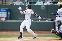 Trey Michalczewski (8) of the Winston-Salem Dash follows through on his swing against the Myrtle Beach Pelicans at BB&T Ballpark on April 18, 2015 in Winston-Salem, North Carolina.  The Pelicans defeated the Dash 4-1 in game one of a double-header.  (Brian Westerholt/Four Seam Images)