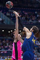 Estudiantes Alex Brown and FC Barcelona Lassa Ante Tomic during Liga Endesa match between Estudiantes and FC Barcelona Lassa at Wizink Center in Madrid, Spain. October 22, 2017. (ALTERPHOTOS/Borja B.Hojas) /NortePhoto.com