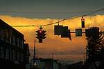 traffic lights and dramatic sky