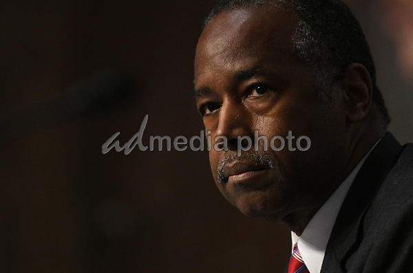 United States Secretary of Housing and Urban Development (HUD) Ben Carson, listens to questions of U.S. Senators on Capitol Hill in Washington, D.C., June 9, 2020, during a hearing of the U.S. Senate Committee on Banking, Housing, and Urban Affairs to examine housing regulations during the pandemic. <br /> Credit: Astrid Riecken / Pool via CNP/AdMedia