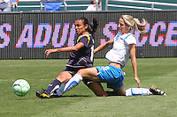 Marta #10 of the Los Angeles Sol attempts to control a loose ball against Sue Weber #20 the Boston Breakers during thier WPS game at Home Depot Center on May 10, 2009 in Carson, California.