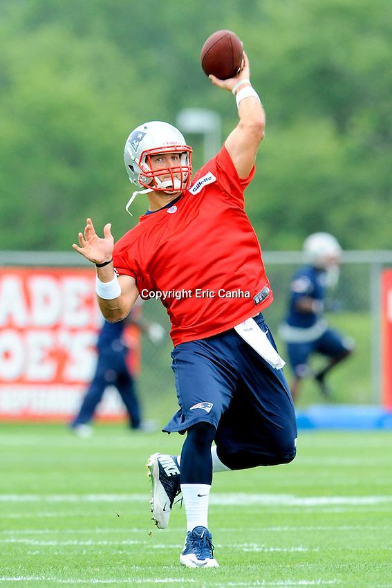 New England Patriots quarterback Tim Tebow (5) during the New England Patriots mini camp at Gillette Stadium in Foxborough Massachusetts.   Eric Canha/CSM