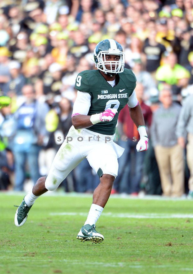 Michigan State Spartans Montae Nicholson (9) during a game against the Purdue Boilermakers on October 11, 2014 at Ross-Ade Stadium in West Lafayette, IN. Michigan State beat Purdue 45-31.