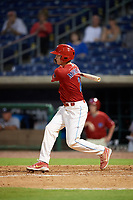 Clearwater Threshers center fielder Mickey Moniak (2) hits an RBI single in the bottom of the seventh inning during a game against the Florida Fire Frogs on June 1, 2018 at Spectrum Field in Clearwater, Florida.  Florida defeated Clearwater 12-10.  (Mike Janes/Four Seam Images)