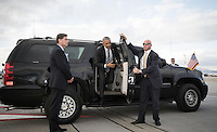 Pictured: US President Barack Obama steps out of his armoured car to board The Air Force One before departing from Eleftherios Venizelos Airport in Athens, Greece. Wednesday 16 November 2016<br /> Re: US President Barack Obama state visit to Greece
