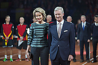 Gent, Belgium, November 27, 2015, Davis Cup Final, Belgium-Great Britain, Spectacular opening ceremony, Belgium Queen Mathilde and King Filip attent the first match<br /> Photo: Tennisimages/Henk Koster