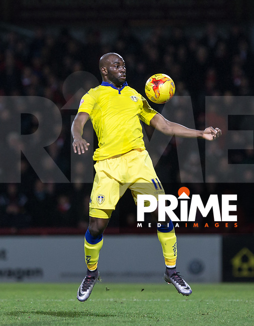 Souleymane Doukara of Leeds United  controls the ball during the Sky Bet Championship match between Brentford and Leeds United at Griffin Park, London, England on 26 January 2016. Photo by Andy Rowland / PRiME Media Images.