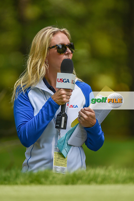 Golf analyst, Jessica Marksbury watches the action on 2 during round 4 of the U.S. Women's Open Championship, Shoal Creek Country Club, at Birmingham, Alabama, USA. 6/3/2018.<br /> Picture: Golffile   Ken Murray<br /> <br /> All photo usage must carry mandatory copyright credit (© Golffile   Ken Murray)