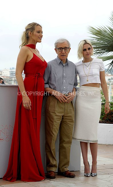 WWW.ACEPIXS.COM<br /> <br /> May 11 2016, Cannes<br /> <br /> Blake Lively, Woody Allen and Kristen Stewart attend the 'Cafe Society' photocall during The 69th Annual Cannes Film Festival on May 11, 2016 in Cannes, France<br /> <br /> By Line: Famous/ACE Pictures<br /> <br /> <br /> ACE Pictures, Inc.<br /> tel: 646 769 0430<br /> Email: info@acepixs.com<br /> www.acepixs.com
