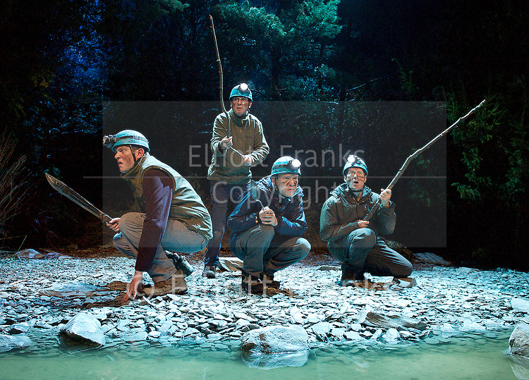 Neville's Island <br /> by Tim Firth <br /> at Duke of York's Theatre, London, Great Britain <br /> 17th October 2014 <br /> press photocall<br /> <br /> Adrian Edmondson as Gordon <br /> <br /> Miles Jupp as Angus<br /> <br /> Neil Morrissey as Neville<br /> <br /> Robert Webb as Roy <br /> <br /> <br /> <br /> <br /> <br /> <br /> Photograph by Elliott Franks <br /> Image licensed to Elliott Franks Photography Services