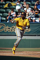 Daniel Williams (31) of the Arizona State Sun Devils runs to first base during a game against the Long Beach State Dirtbags at Blair Field on February 27, 2016 in Long Beach, California. Long Beach State defeated Arizona State, 5-2. (Larry Goren/Four Seam Images)
