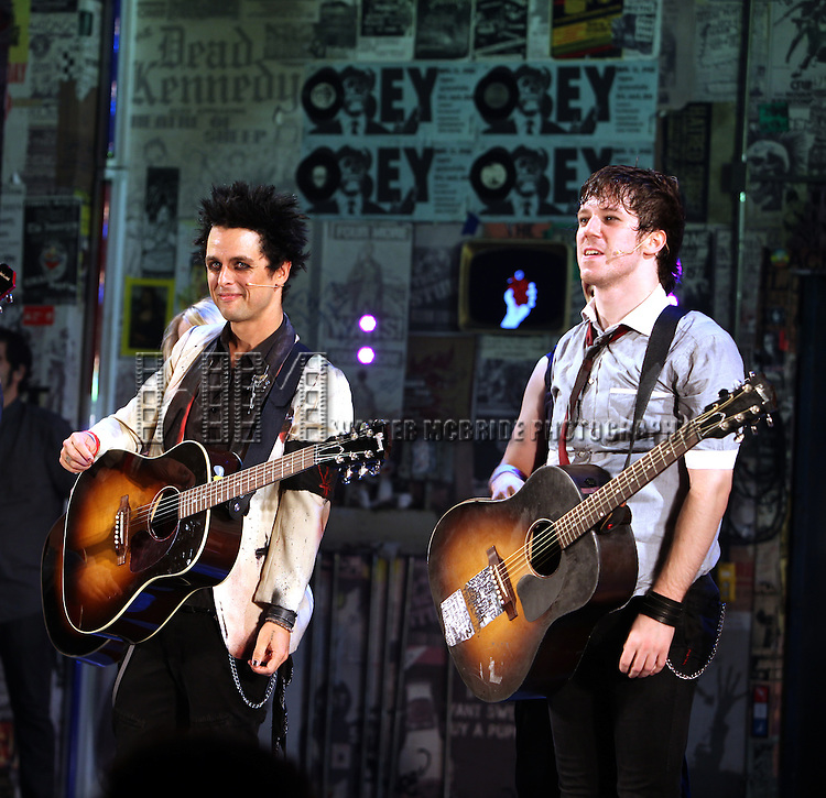 "Billie Joe Armstrong with John Gallagher Jr & ensemble cast during the curtain call as he makes his Broadway Debut As ""St. Jimmy"" in ""American Idiot"" at the St. James Theatre in New York City.  September 28, 2010.© Walter McBride / .."