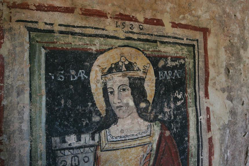 Matera, i Sassi Le chiese rupestri  Affresco di Santa Barbara
