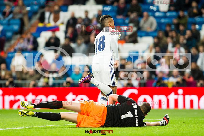 "Cultural Leonesa's Leandro, Real Madrid's Mariano during the match of ""Copa del Rey"" between Real Madrid and Cultural Leonesa at Santiago Bernabeu Stadium in Madrid, Spain. November 29, 2016. (ALTERPHOTOS/Rodrigo Jimenez) /NORTEPHOTO.COM"