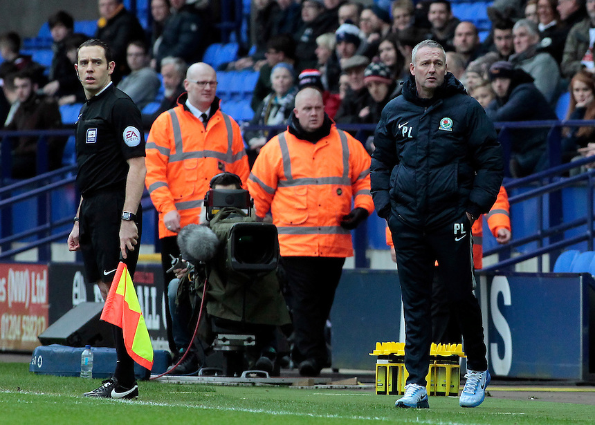 Blackburn Rovers manager Paul Lambert  looks on from the dug-out<br /> <br /> Photographer David Shipman/CameraSport<br /> <br /> Football - The Football League Sky Bet Championship - Bolton Wanderers v Blackburn Rovers - Monday 28th December 2015 - Macron Stadium - Bolton <br /> <br /> &copy; CameraSport - 43 Linden Ave. Countesthorpe. Leicester. England. LE8 5PG - Tel: +44 (0) 116 277 4147 - admin@camerasport.com - www.camerasport.com