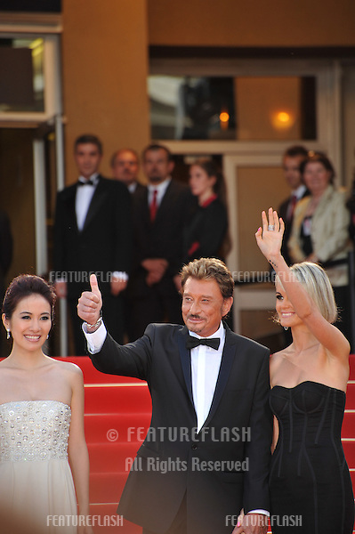 "Johnny Hallyday & wife Laeticia Boudou  at the premiere of his new movie ""Vengeance"" in competition at the 62nd Festival de Cannes..May 17, 2009  Cannes, France.Picture: Paul Smith / Featureflash"