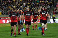 Crusaders players, from left, George Bridge, Ben Funnell, Wyatt Crockett, Jack Goodhue (background) and Scott Barrett during the Super Rugby match between the Hurricanes and Crusaders at Westpac Stadium in Wellington, New Zealand on Saturday, 15 July 2017. Photo: Dave Lintott / lintottphoto.co.nz