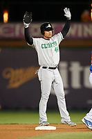 Clinton LumberKings left fielder Gareth Morgan (44) asks for time while standing on second base during a game against the South Bend Cubs on May 5, 2017 at Four Winds Field in South Bend, Indiana.  South Bend defeated Clinton 7-6 in nineteen innings.  (Mike Janes/Four Seam Images)