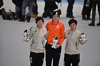 OLYMPIC GAMES: PYEONGCHANG: 14-02-2018, Gangneung Oval, Long Track, 1000m Ladies, Final result, Nao Kodaira (JPN), Jorien ter Mors (NED), Miho Takagi (JPN), ©photo Martin de Jong