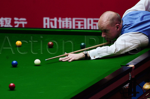 31.03.2011 Beijing, CHINA; Peter Ebdon defeats Neil Robertson 5:1 in the second round at the 2011 World Snooker China Open.