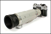 BNPS.co.uk (01202 558833)Pic: Astons/BNPS<br /> <br /> 300mm F4 was ahead of its time.<br /> <br /> Cold War Collectables - Auction of Soviet spy camera's from behind the Iron Curtain reveal the KGB's cunning and ingenuity at the height of the Cold War.<br /> <br /> A fascinating collection of Russian spy cameras which were used clandestinely at the height of the Cold War have emerged for sale for &pound;60,000.<br /> <br /> The ingenious gadgets deployed by KGB operatives include cameras built into the sides of briefcases, buttons of jackets, umbrella handles and cigarette cases.<br /> <br /> The sale also features a clever 'Zenit' F-21 spy camera which shoots photos through the side of a camera case when it appears to be shut.<br /> <br /> There are also several 'Minox' cameras which are known as the 'James Bond' spy camera as one appeared in the film On Her Majesty's Secret Service (1969).