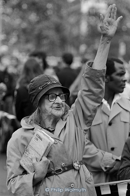 Aggie: Eternal Life.  Speakers Corner, Hyde Park, London; July 1978.
