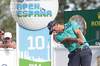 Pablo Larrazabal (ESP) on the 10th tee during the second round of the Mutuactivos Open de Espana, Club de Campo Villa de Madrid, Madrid, Madrid, Spain. 04/10/2019.<br /> Picture Hugo Alcalde / Golffile.ie<br /> <br /> All photo usage must carry mandatory copyright credit (© Golffile | Hugo Alcalde)