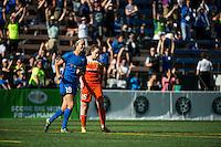 Seattle, Washington - Sunday, June 12, 2016: Seattle Reign FC midfielder Havana Solaun (19) celebrates her goal during a regular season National Women's Soccer League (NWSL) match at Memorial Stadium. Seattle won 1-0.