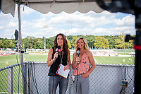 Kansas City, MO - Wednesday August 16, 2017: Jenn Hildreth, Aly Wagner during a regular season National Women's Soccer League (NWSL) match between FC Kansas City and the Orlando Pride at Children's Mercy Victory Field.