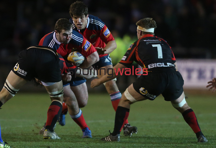Dragons Flanker Lewis Evans and Nic Cudd close the gap on Munster replacement prop James Cronin <br /> RaboDirect Pro12<br /> Newport Gwent Dragons v Munster<br /> Rodney Parade - Newport<br /> 29.11.13<br /> ©Steve Pope-SPORTINGWALES