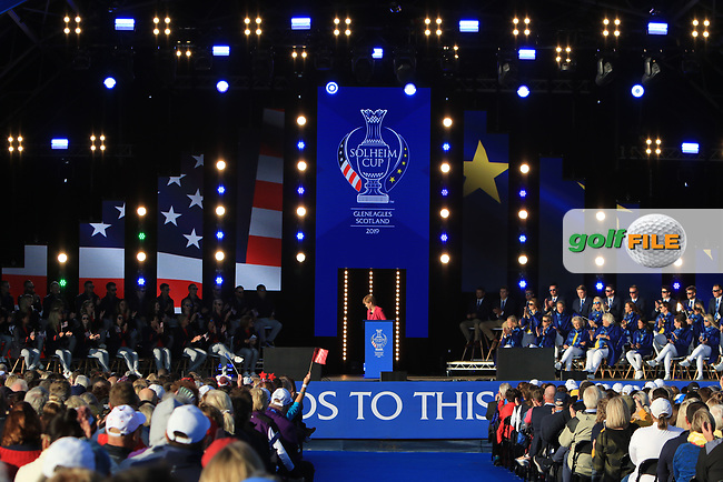 The stage during the Opening Ceremony of the Solheim Cup 2019 at Gleneagles Golf CLub, Auchterarder, Perthshire, Scotland. 12/09/2019.<br /> Picture Thos Caffrey / Golffile.ie<br /> <br /> All photo usage must carry mandatory copyright credit (© Golffile   Thos Caffrey)